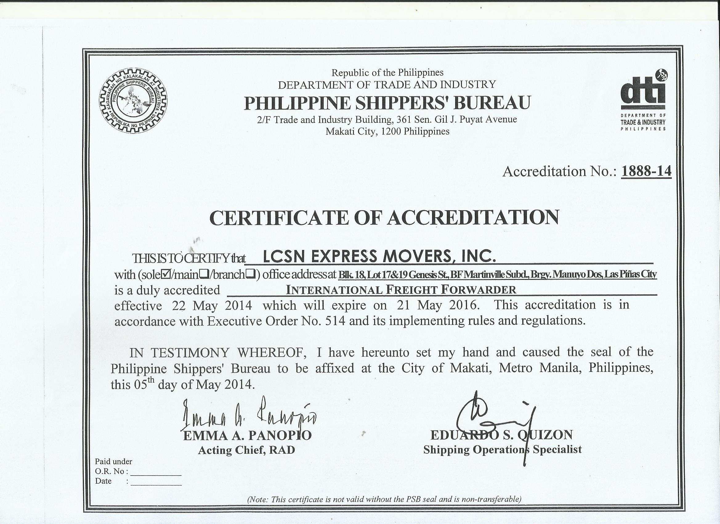 Lcsn accreditation and certification lcsn express movers inc psb certification 1betcityfo Gallery