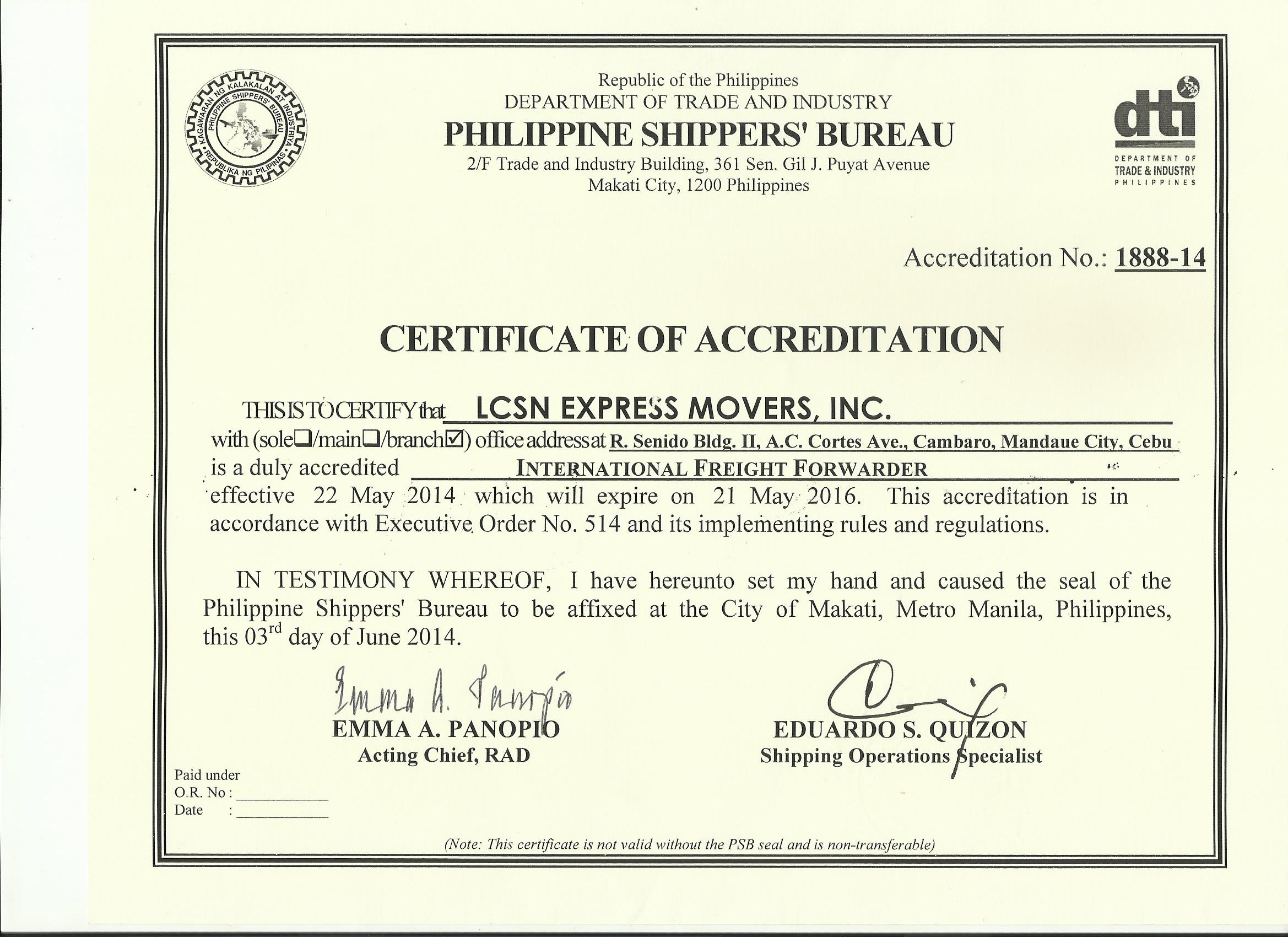 LCSN Accreditation and Certification - LCSN Express Movers ...